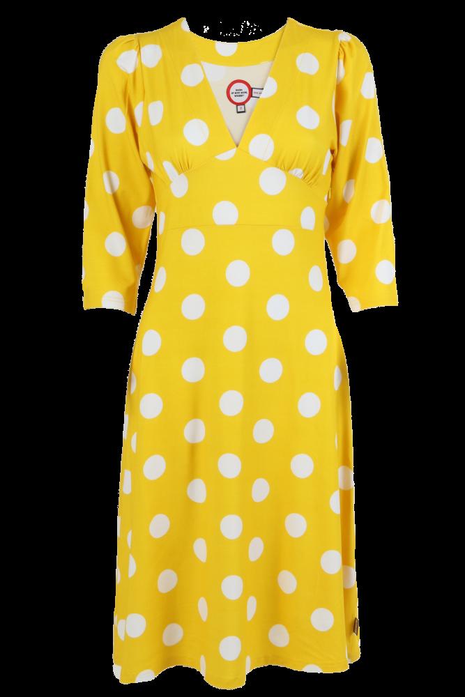 919fa7053274 Gul og vit polkadot kjole