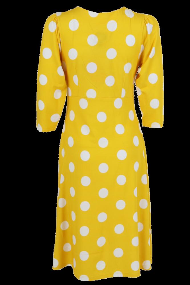 2b0ca32e Gul og hvit polkadot kjole