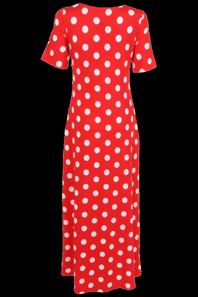 095d9c3a Rød polkadots kjole