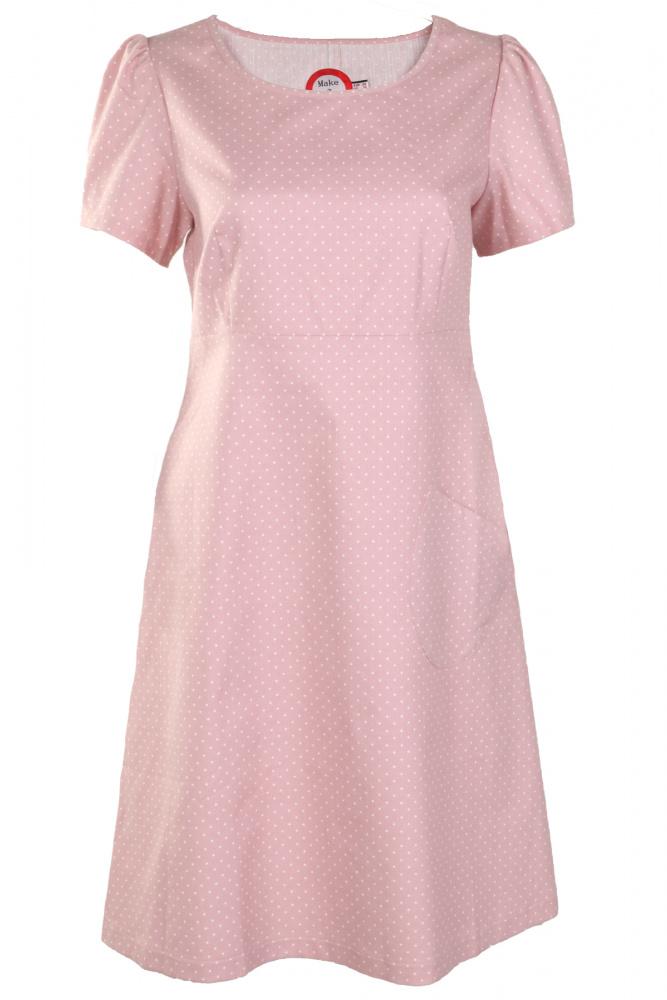 5aef855cf7ea Lysrød prikket jeansfarget kjole