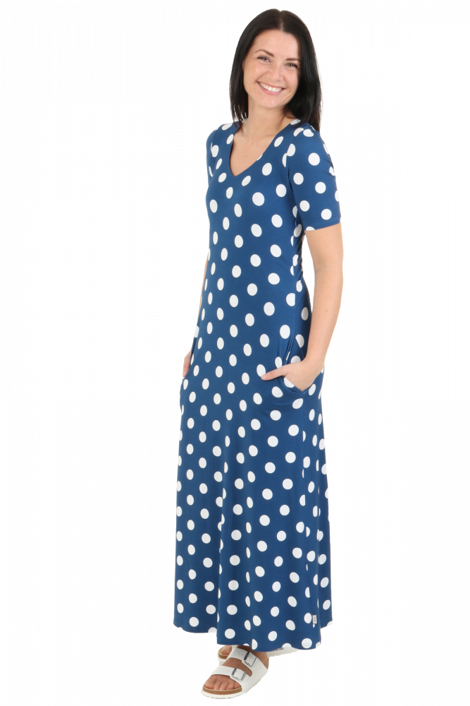 c7832581 Blå polkadots kjole