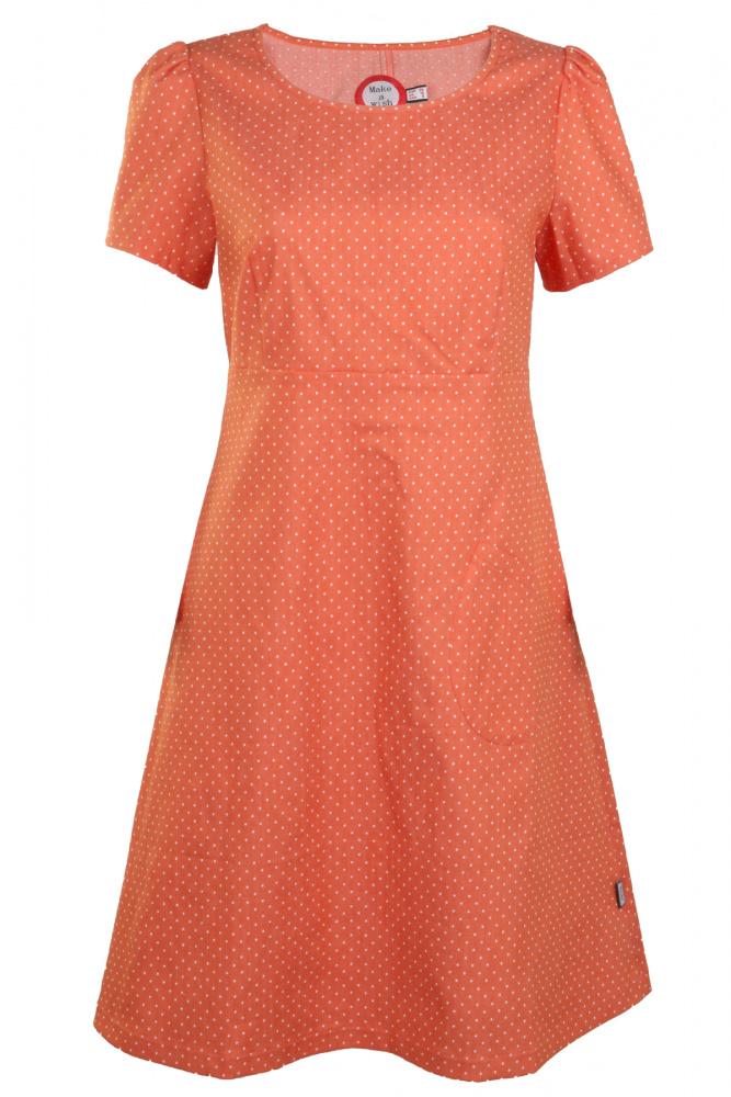 1a373dea9df5 Oransje prikket jeansfarget kjole