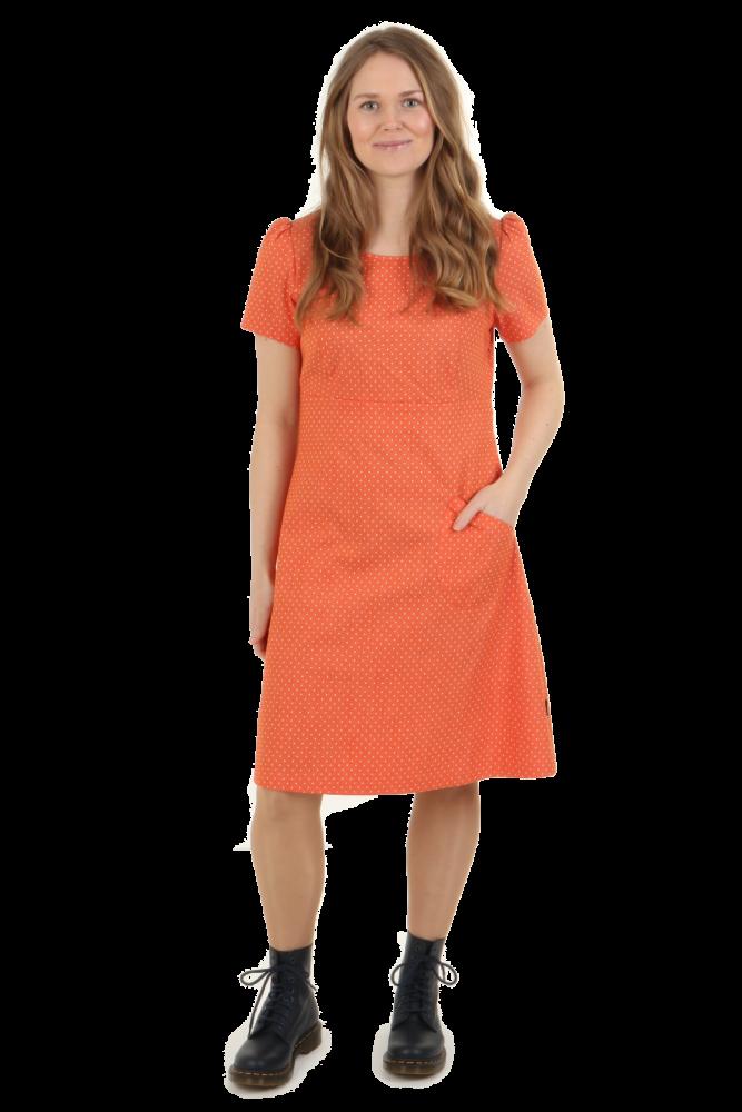 ad5dc305 Oransje prikket jeansfarget kjole